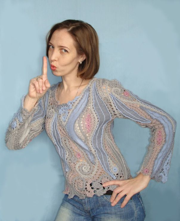 The fabric inserts in this crochet top add interest and could also be hand dyed, embroidered, etc. ~CAWeStruck.