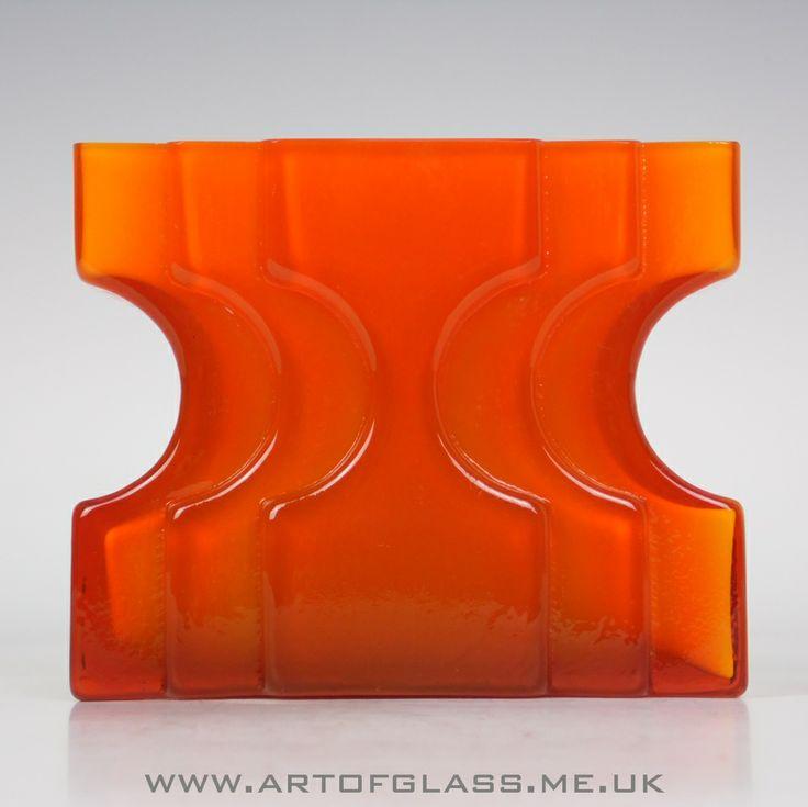 Alsterfors orange glass vase by Per-Olof Ström