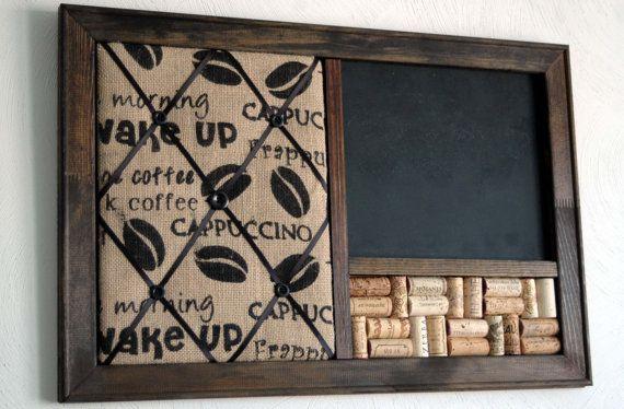 Coffee Burlap French Memo Board, Wine Corkboard & Chalkboard Kitchen Organizer