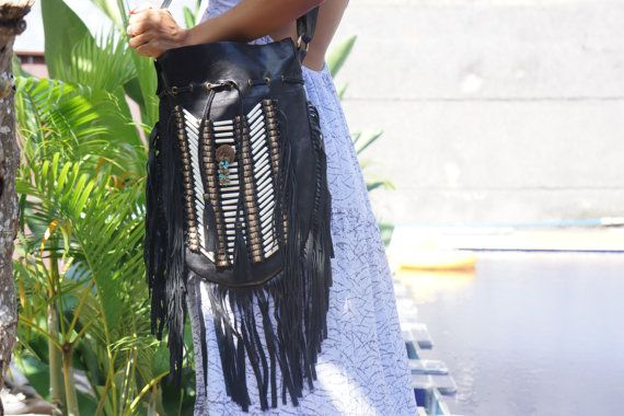 Black Navajo Bag Bohemian Handbag Boho Bag by BramsKaraDesign