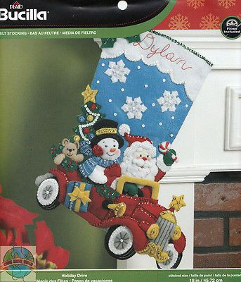 Fieltro Kit de bordado plaid-bucilla Santa de vacaciones Disco Christmas Stocking # 86451