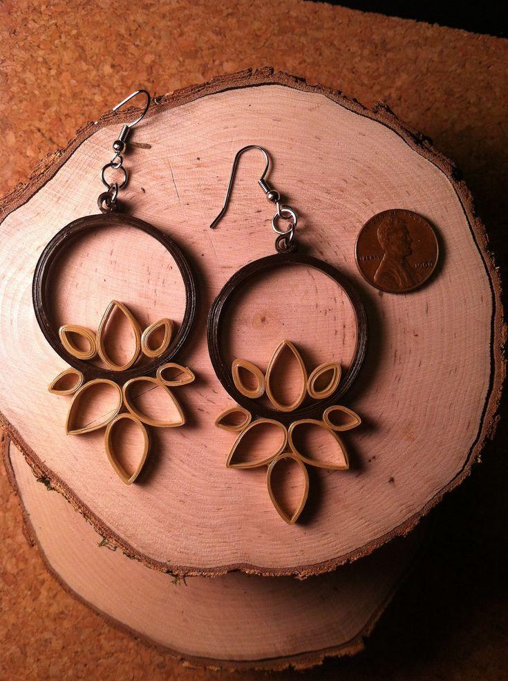 Lotus Earrings - Chocolate Beige. $20. via Etsy.