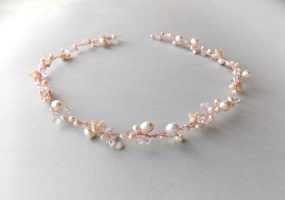 Rose Gold Bridal Hair Vine - Elegant and Sophisticated. The beautiful halo can be worn either as a circlet on top, as a headband or wrapped around