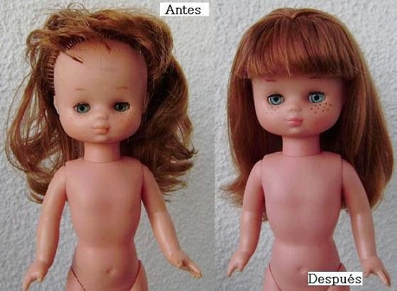 Esta bonita Lesly diez pecas de ceja fina llegó con el problema más común de estas muñequitas: ojos atascados y pérdida de pestañas...