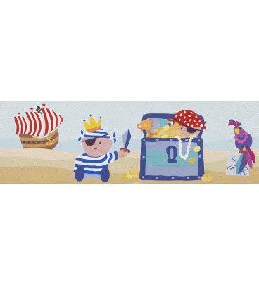 CENEFA INFANTIL KIDS CLUB RASCH C-141108. ¡A 25.59 EUROS! Una simpática cenefa infantil de piratas perfecta para combinar con los diferentes papeles pintados infantiles. Un aire aventurero y pícaro en la habitación de su hijo.