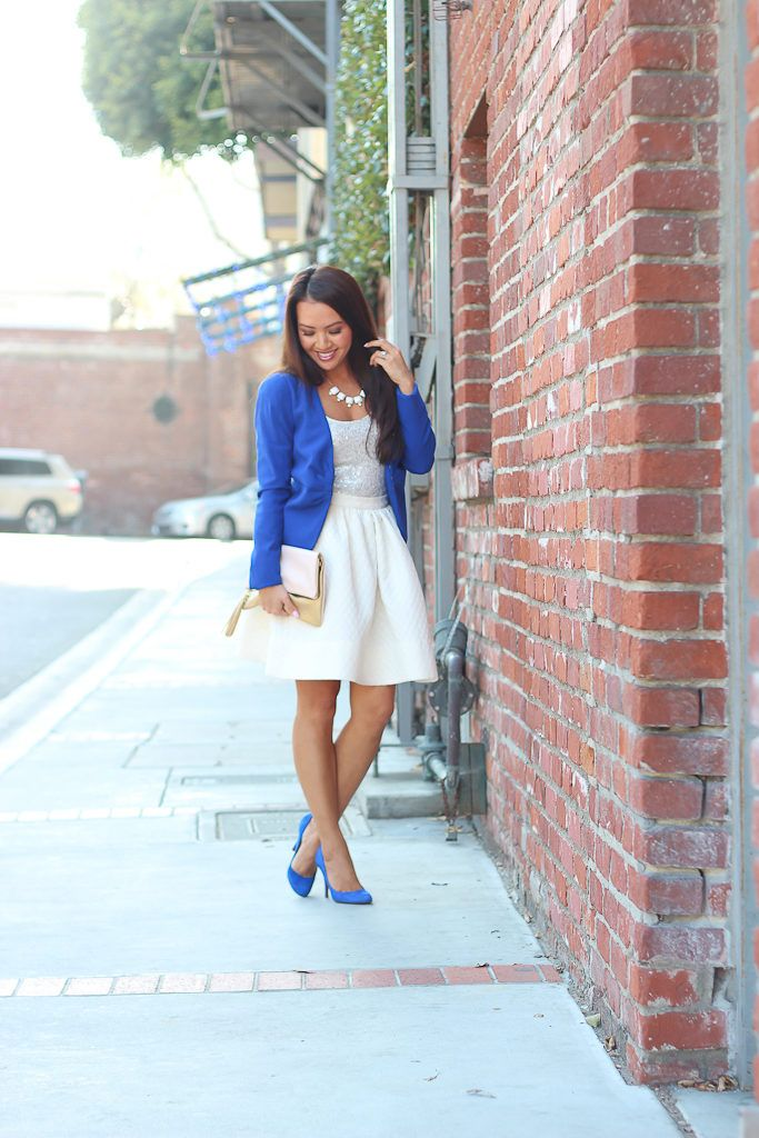 Cobalt Blue, Sequin Tank and Flare Skirt | Stylish Petite