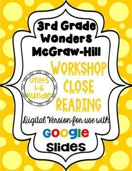 3rd Grade Wonders McGraw Hill Workshop Close Reading.  Digital Version for use with Google Slides.   #bamagirltpt