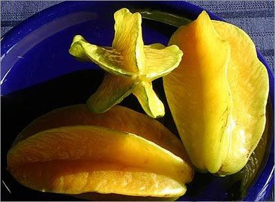Star fruit  The star fruit comes from the carambola, a species of tree with pink flowers grown even in the US. The golden-yellow fruit is crunchy, sweet, with a taste of pineapples, apples and kiwis combined. There are two kinds of star fruits – acidulate and sweet, both rich in vitamin C. The fruit is particularly juice, some even making wine out of it.