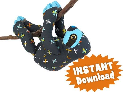 SLOTH INSTANT DOWNLOAD Sewing Pattern PDF from Funky Friends Factory