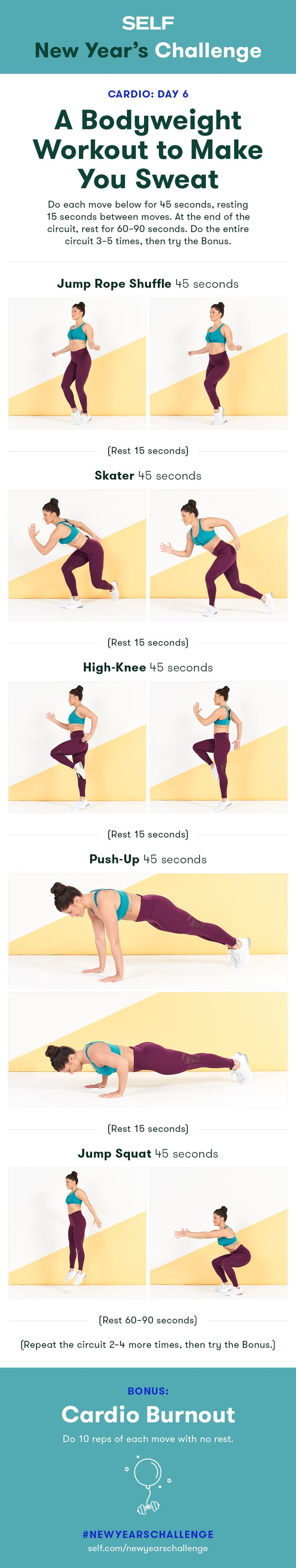 Welcome to our #NewYearsChallenge! Try this no-equipment cardio workout for women with high knees and jump squats!
