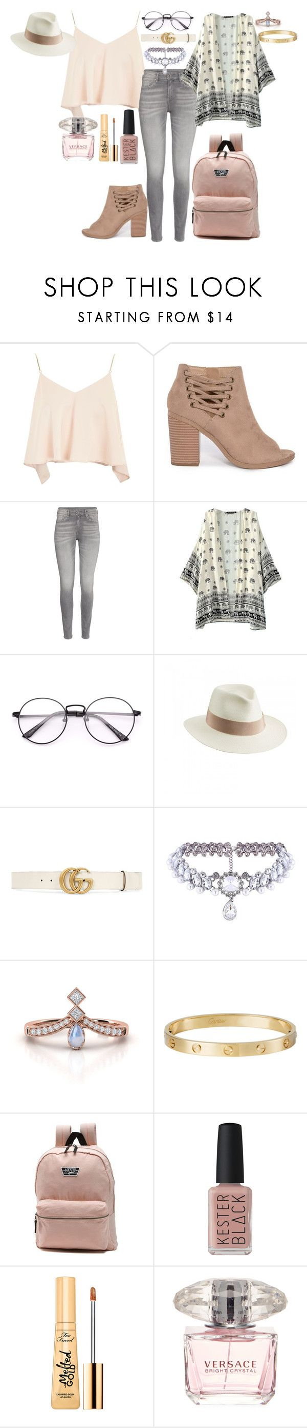 """""""Untitled #103"""" by amor-de-pandicornios on Polyvore featuring Topshop, Helen Kaminski, Gucci, WithChic, Cartier, Vans, Kester Black, Too Faced Cosmetics and Versace"""