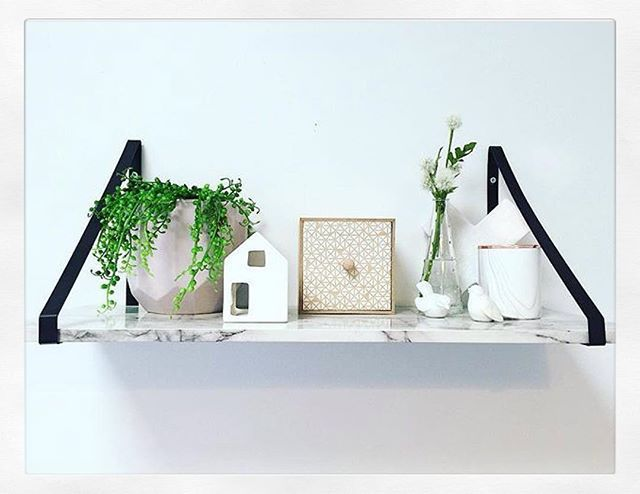 Here is a wonderful Sunday #shelfie by @homeiswhereabargainis featuring Kmart new #marble shelf, pot, #marble cross and candle.