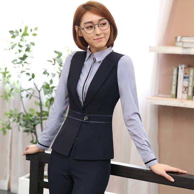 405f728588 2017 primavera nuevas mujeres Profesionales solo botón chaleco pantalones  trajes para mujeres oficina ropa de trabajo trajes de las mujeres traje  pantalón