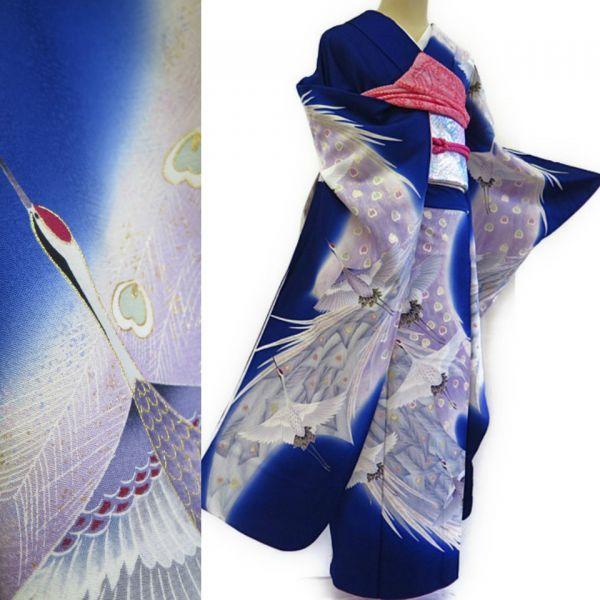 着物の桜 振袖・美品袋帯セット*孔雀の羽に鶴の舞* s-126 _画像1