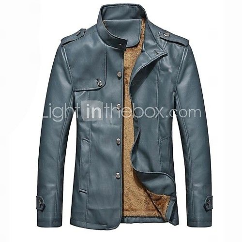 moda casual de los hombres más de la chaqueta de cuero de la motocicleta de terciopelo grueso - USD $49.79