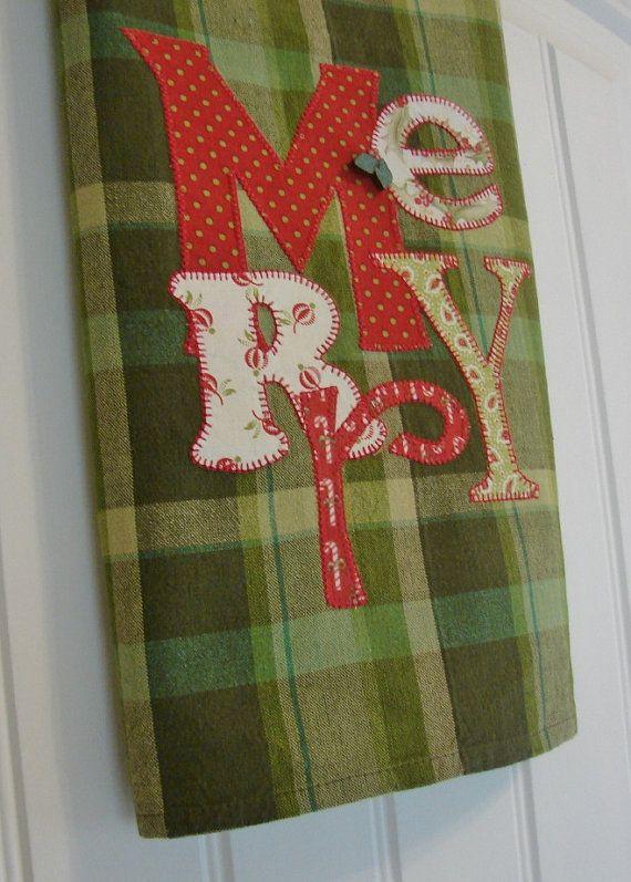 Applique' Tea Towel - Very Merry -  Homespun Tea Towel - Christmas Home Decor on Etsy, $20.00