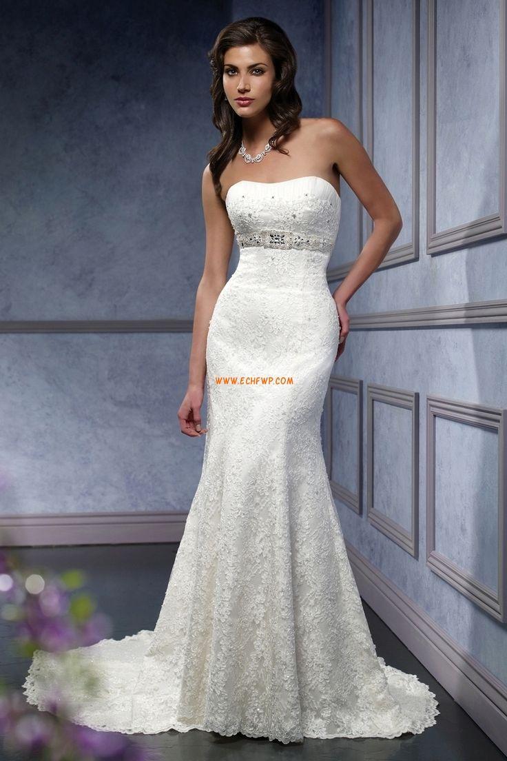 A-linje Glamorös & Dramatisk Applikation Lyx Bröllopsklänningar