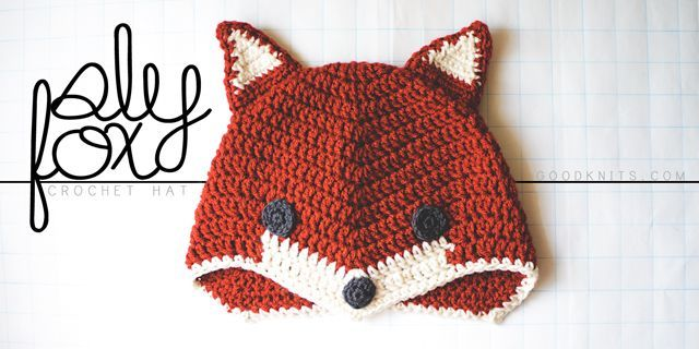 """""""What Does the Fox Say?"""" Crochet this sweet Sly Fox hat from Good Knits, a free pattern."""