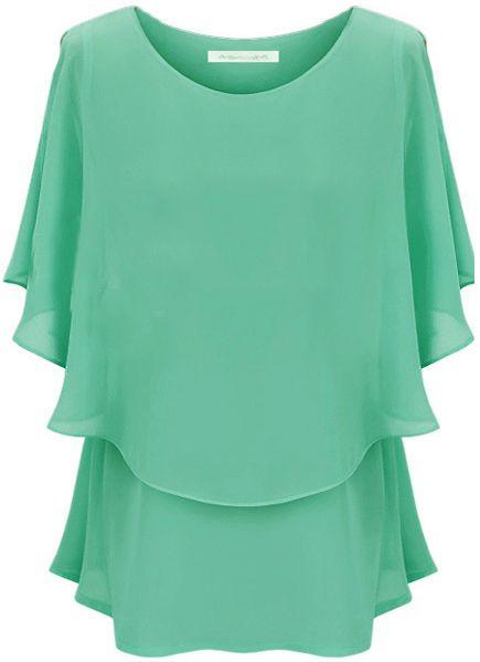 Green Off the Shoulder Ruffles Chiffon Blouse - Sheinside.com