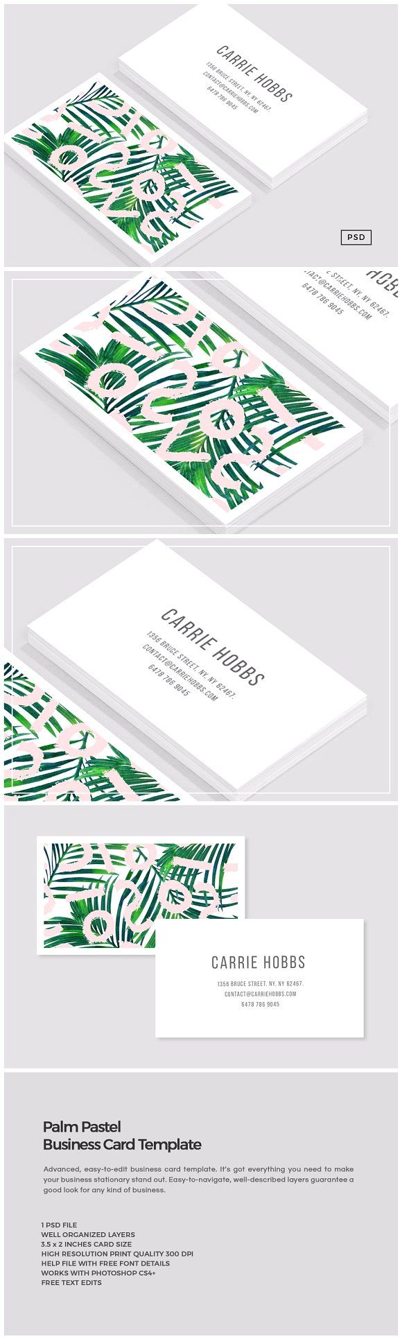 82 best business cards 2018 images on pinterest business cards palm pastel business card template by the design label on creativemarket flashek Image collections