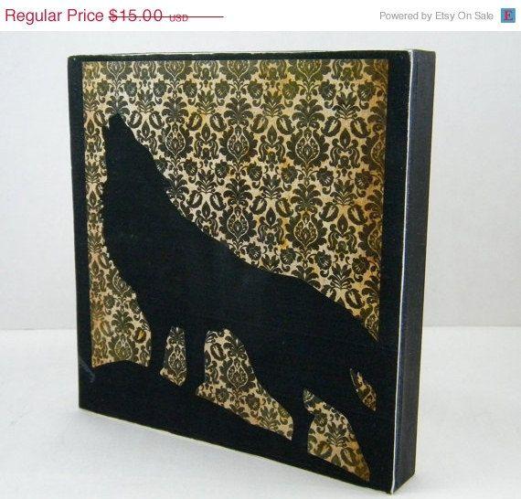 The Lone Wolf on wood panel Halloween decor by MoleStreetStudio, $10.00