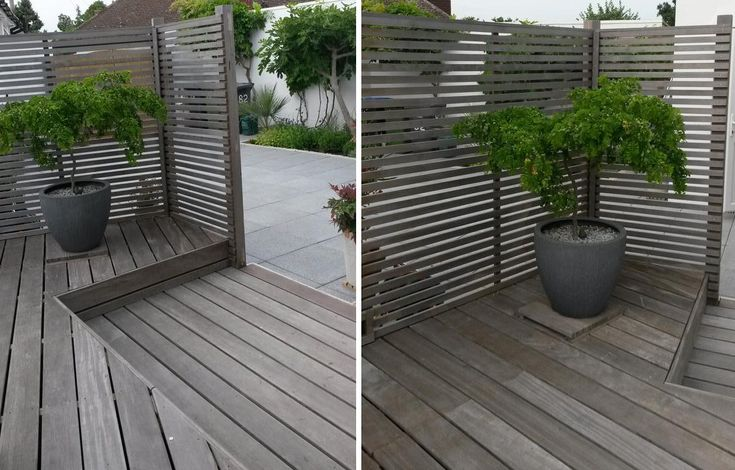 Beautifully weathered Western Red Cedar slatted screen fence & Yellow Balau Hardwood deck. By Darran Jacques @urbancreations