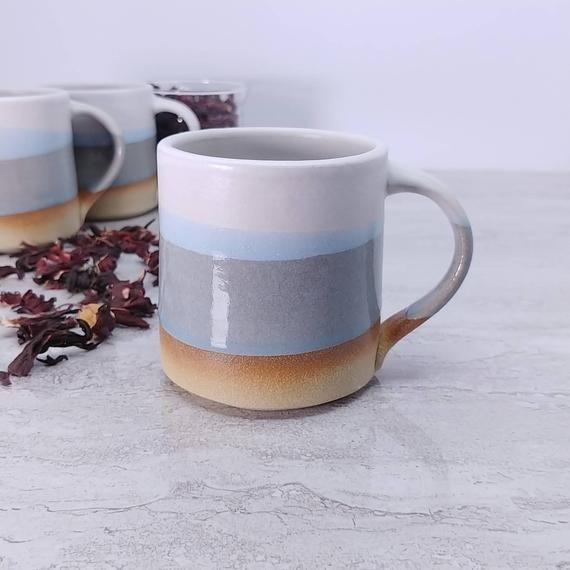 Tea Mug Coffee Mug White Blue Grey 10 Oz Stoneware Handmade Tea Mugs Mugs Coffee Mugs