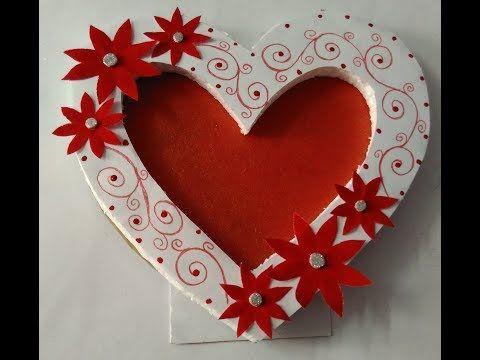 How to make beautiful photo frame||heart shape photo frame||easy and simple photo frame - YouTube