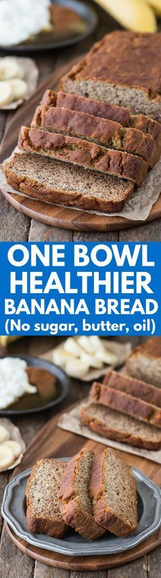 One bowl healthier banana bread recipe with no sugar, butter, or oil! Use whole wheat flour to keep this healthy bread recipe clean eating friendly. Pin now to make later!