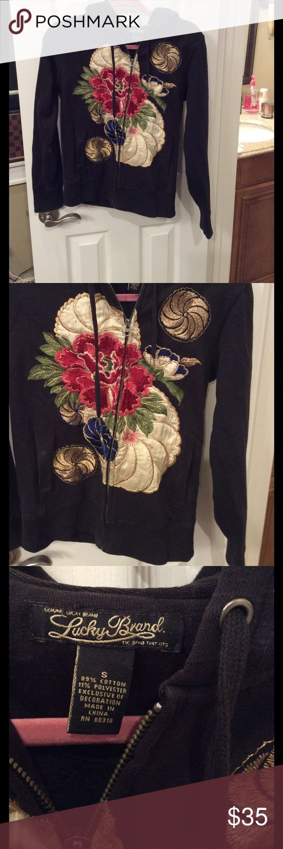 Lucky brand embroidered hoodie Beautiful floral embroidered hoodie. Satin and stitched floral design. Lucky Brand Tops Sweatshirts & Hoodies