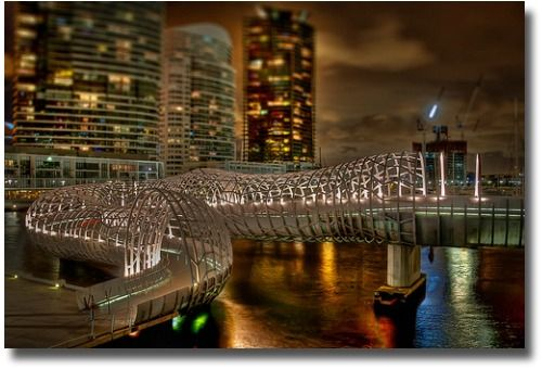 The Webb Bridge at the Melbourne Docklands Australia compliments of http://www.flickr.com/photos/mel365com/6781424885/