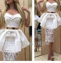 Tè lunghezza aperto indietro dubai donne abito del partito sexy corto bianco  Pizzo prom dresses sirena con peplum oro telai abiti da festa(China (Mainland))