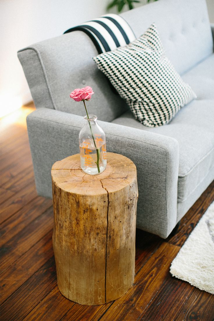 Ashley Rose's Houston Townhouse Tour // eclectic #decor // DIY side table // stump // wood // grey couch // Photography by Kimberly Chau