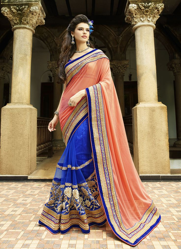 #Blue & #Peach Colour #Net & #Georgette #Saree. Lovely #floral #embroidery and #exotic #colours come together to define this #beautiful #saree.  Contact to Buy : +91-9377111620