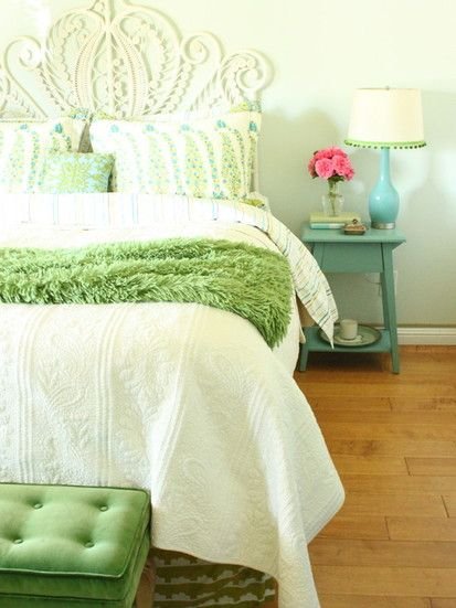Turquoise And Green Bedroom, Eclectic Bedroom, San Francisco