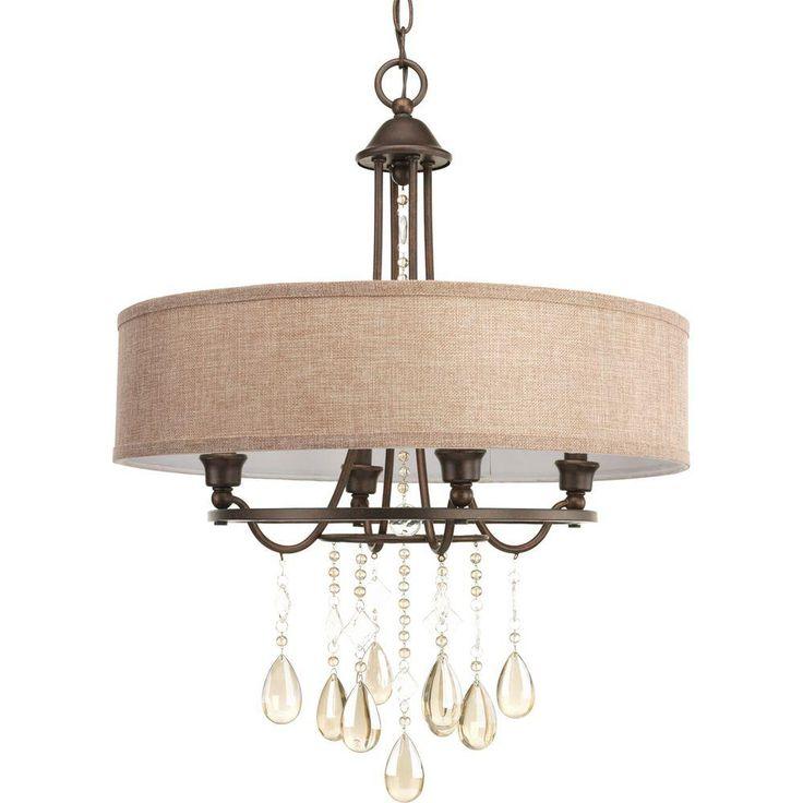 Progress Lighting Flourish Collection 4-Light Cognac Pendant-P5151-72 - The Home Depot