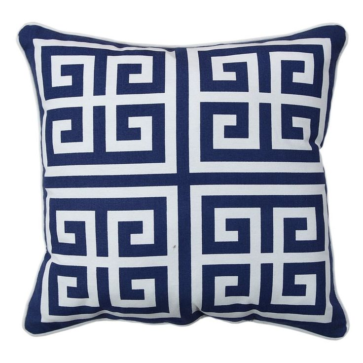 Shop allen + roth  Blue Greek Key Outdoor Throw Pillow at Lowe's Canada. Find our selection of outdoor pillows at the lowest price guaranteed with price match + 10% off.