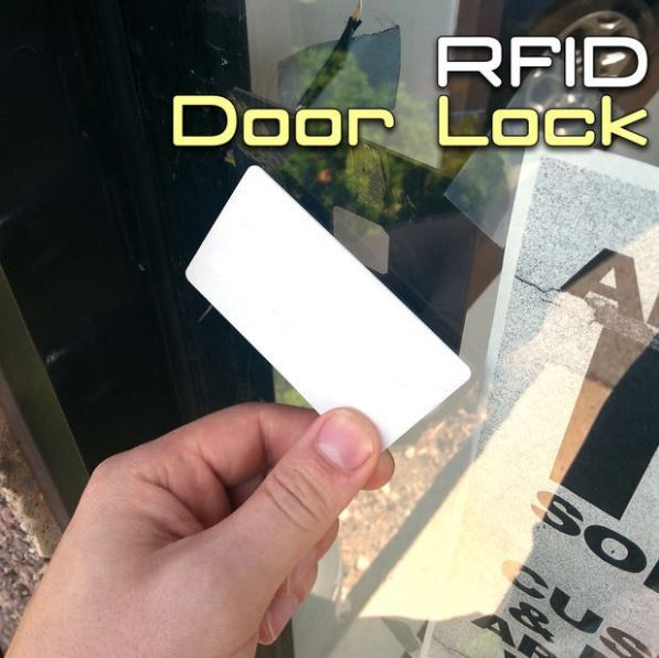 Want to make a secure door lock with RFID and Arduino? http://www.instructables.com/id/RFID-Door-Lock-With-Arduino-1