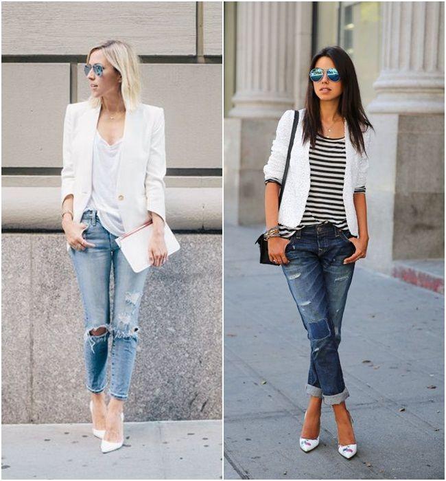 Para Inspirar - Blazer Branco e Jeans Rasgado!                                                                                                                                                     Mais
