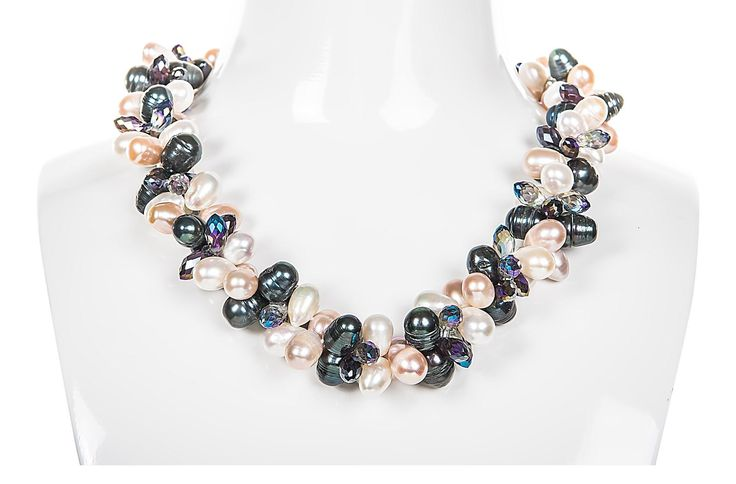 Double Strand Twisted and Crystal Freshwater Pearl Necklace