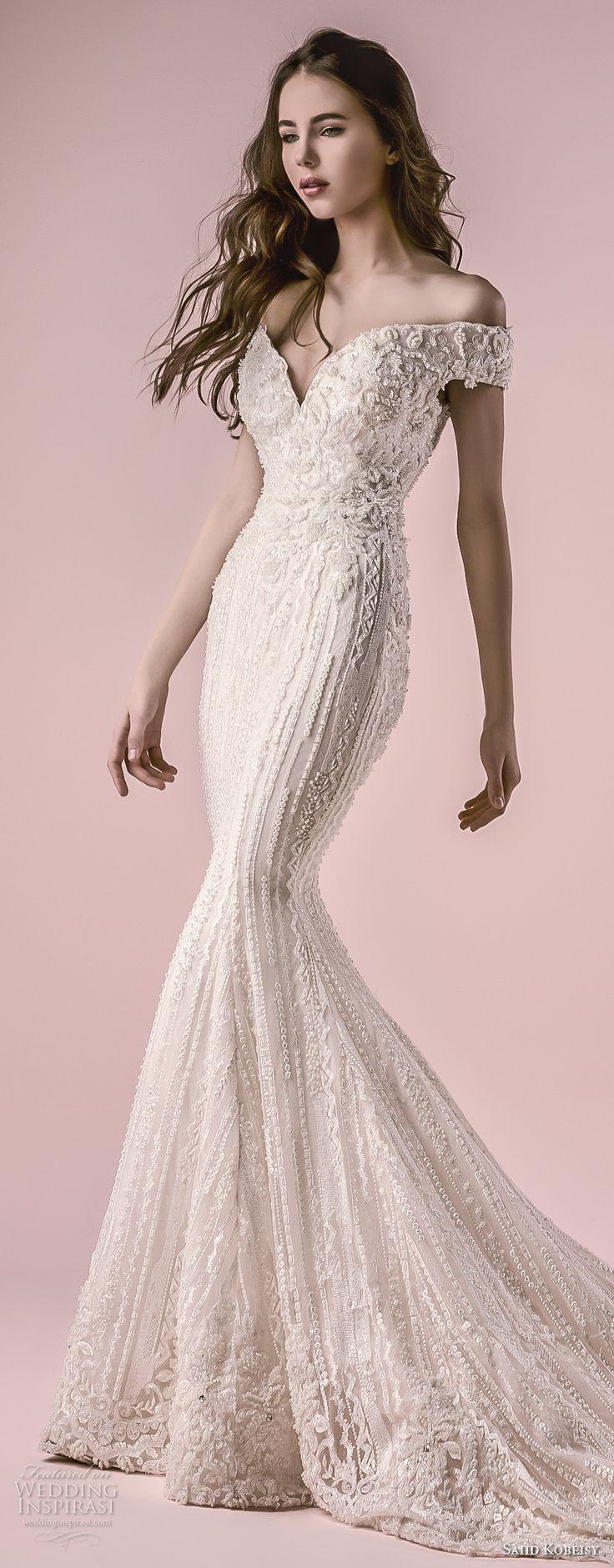 saiid kobeisy 2018 bridal off the shoulder deep sweetheart neckline full embellishment elegant fit and flare wedding dress chapel train (3252) mv zv