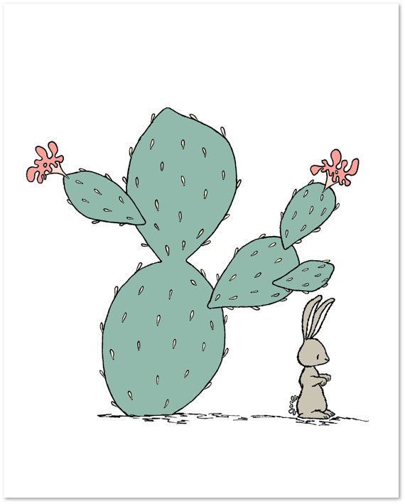 Nursery Art  Southwest Hare  Cactus Nursery by SweetMelodyDesigns