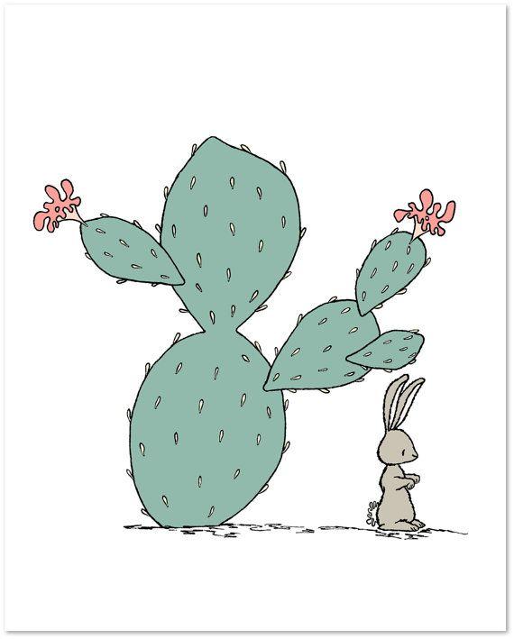 Nursery Art  Southwest Hare  Cactus Nursery by SweetMelodyDesigns