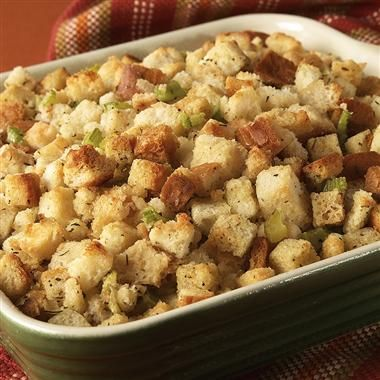 This is a deliciously savory stuffing, featuring poultry seasoning and thyme. Perfect for the holidays. #recipe