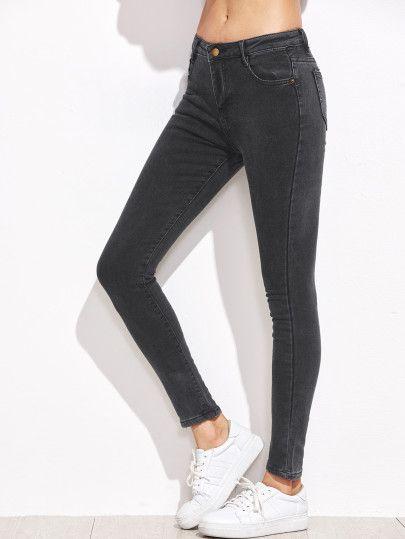 Jeans de cheville moulant -gris foncé