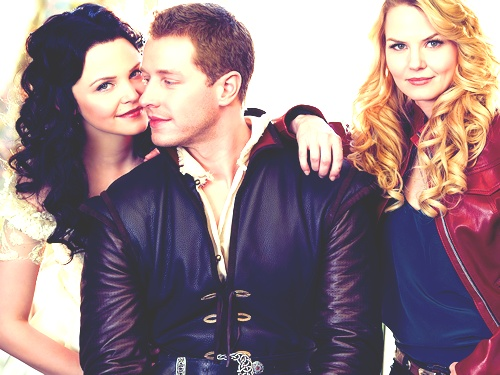Snow White, Prince Charming, and their daughter, Emma Swan.: Seasons, Jennifer Morrison, Josh Dallas, Laying, Families Portraits, Father Daughters, Prince Charms, Once Upon A Time, Snow White