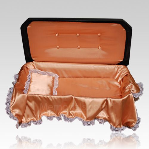 The Loving Memories Large Pet Casket will be a beautiful part of a memorial ceremony for your beloved pet. The piece is constructed of high impact, non-biodegradable, plastic materials, with a black exterior and comes outfitted with a comforting orange satin liner with elegant lace trim and a plush mattress with matching laced trimmed coverlet and pillow. This casket is closed easily with the high impact styrene construction double sided sealing tape (already included).