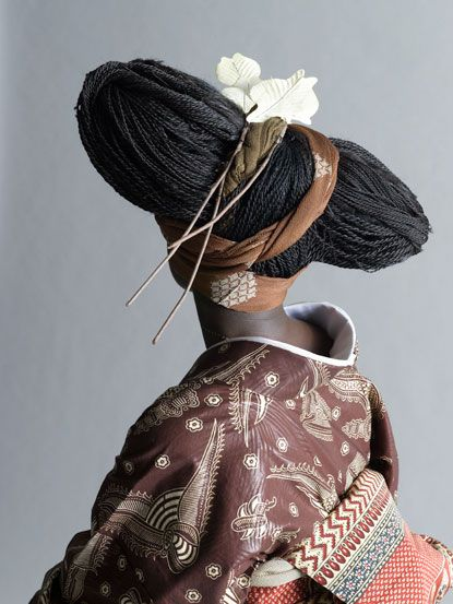 The Global Africa Project at the Museum of Arts and Design in New York features work by Serge Mouangue, who creates kimonos from traditional African cotton textiles.