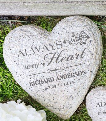 Personalized Memorial Heart Garden Stone. This personalized memory stone will remind you of your loved one each time you pause in the garden or yard. FREE engraving with your loved one's name and dates. #funeralgift, #memorialgardenstone, #memorystone, #memorialrock