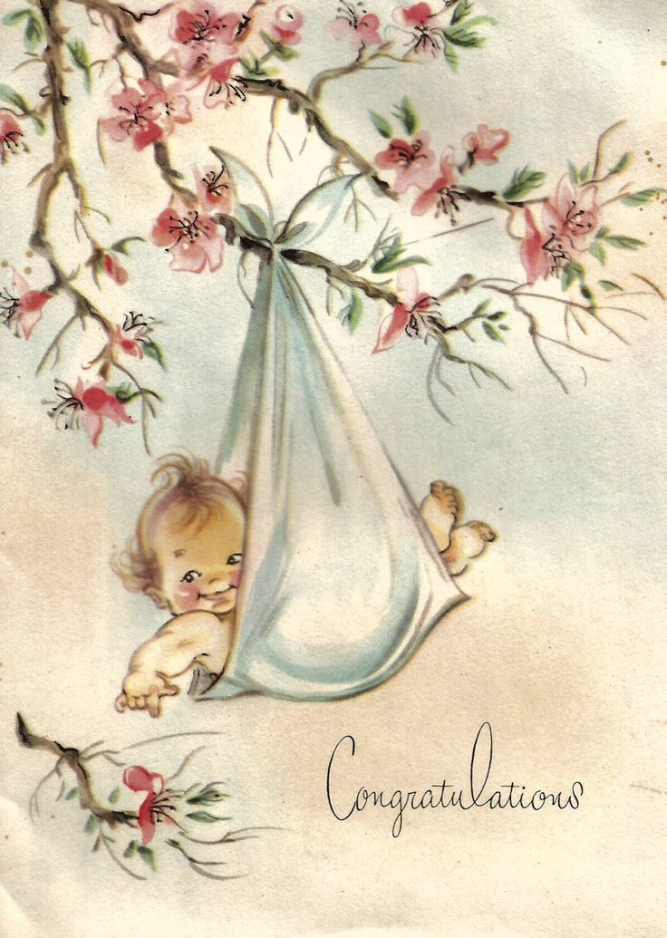 Vintage cute baby congratulations greeting card digital download printable instant image by BigGDesigns on Etsy